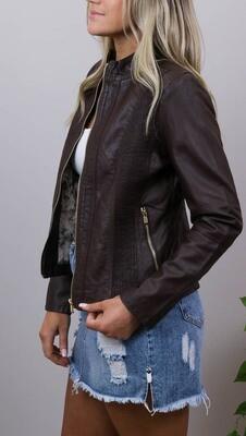 Binky Biker PU Leather Jacket - Chocolate