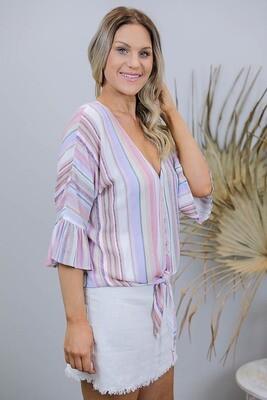 Lady Luck Button Frill Sleeve Tie Shirt - Rainbow Multi