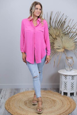 Boardwalk Cotton Must Have Shirt - Hot Pink