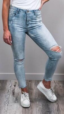 Nulla Nulla Rip Fray Jeans - Light Denim