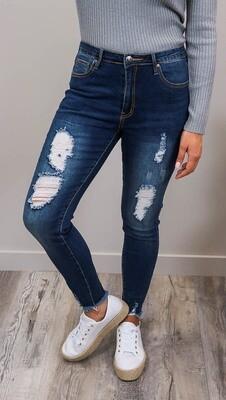 Millie Rip Fray Jeans - Dark Denim