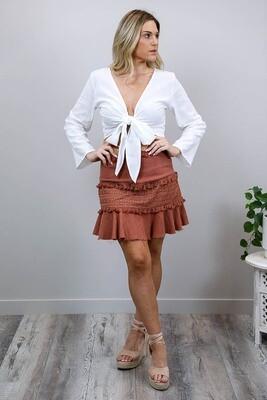Noosa Fringe Skirt - Rust