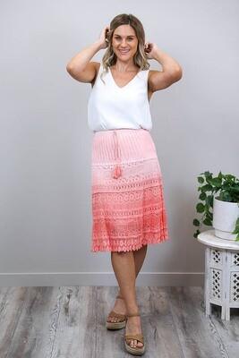 Candy Crochet Midi Skirt - Peachy Pink