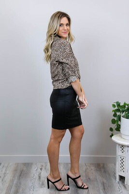 Jingle Wetlook Denim Skirt - Black