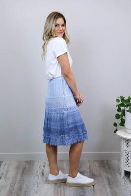 Candy Crochet Midi Skirt - Denim Blue