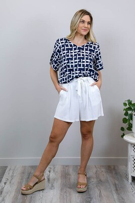 Betty Button Back Cotton Blend Top - Navy Abstract