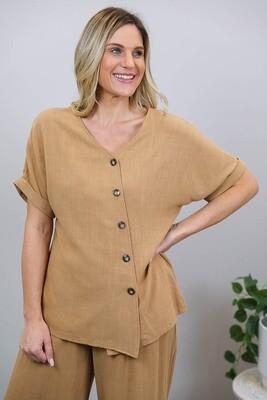 Candid Linen Blend Diag Button S/S Top - Chestnut Brown