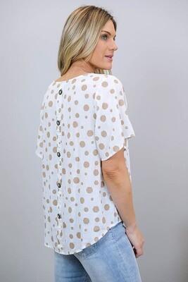 Betty Button Back Linen Blend Top - White/Mocha Spot