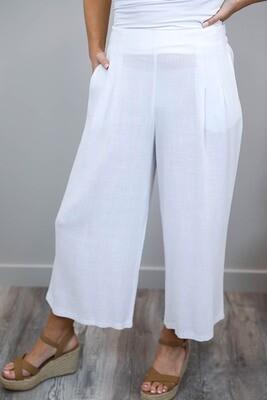 Candid Linen Blend Culotte Pants - White