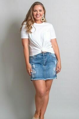 Nulla Nulla Rip Mini Skirt - Mid Denim
