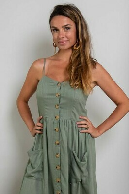 Shelly Beach Button Miniish Dress - Khaki Linen Blend Thin Strap