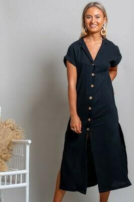 Absolutely Fabulous Cotton Midi Dress - Black