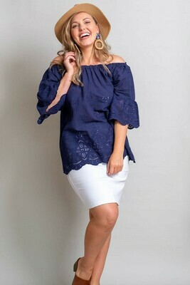 Free Spirit Embroidered Top - Navy