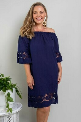 Free Spirit Embroidered Dress - Navy