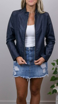 Binky Biker PU Leather Jacket - Navy
