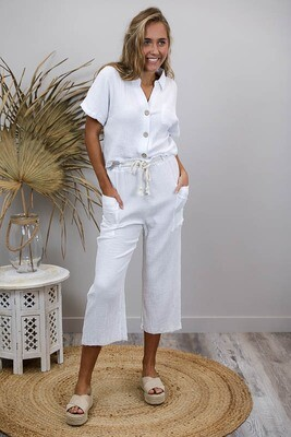 Absolutely Fabulous S/S Crop Cotton Shirt - White