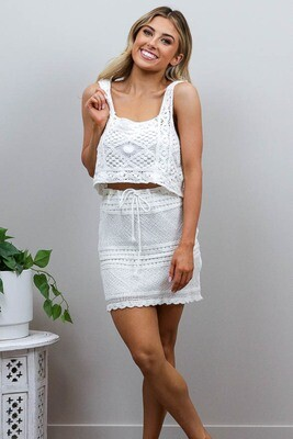 Frankie Festival Crochet Mini Skirt - White