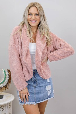 Pooh Bear Fluff Hood Jacket - Blush