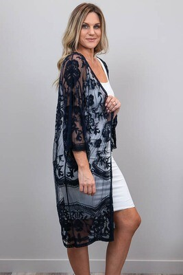 Summer Loving Lace Cape - Navy