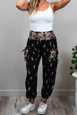 Harem Pants - Black/Blush Leaves