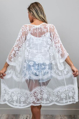 Summer Loving Lace Cape - White