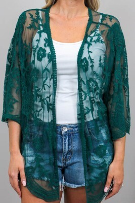 Summer Loving Short Lace Cape - Emerald