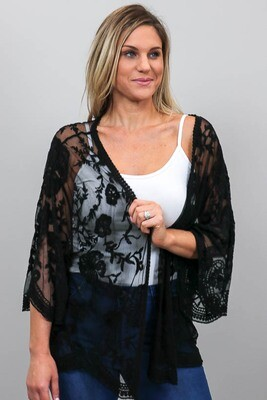 Summer Loving Short Lace Cape - Black