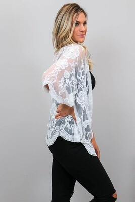 Summer Loving Short Lace Cape - White
