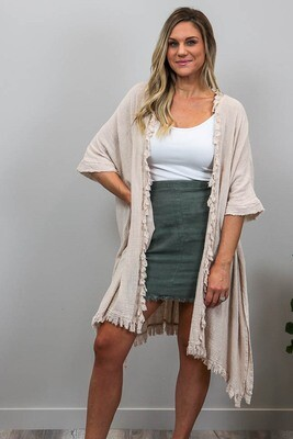Beach Babe Cover Up Fray Cape - Beige