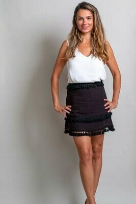 Byron Fringe Skirt - Black