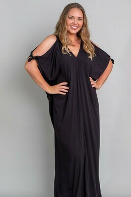 Nulla Nulla Long Kaftan - Black