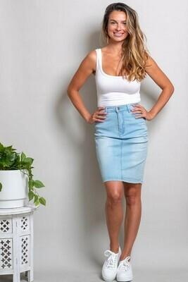 Wanda Denim Midi Skirt - Light Denim