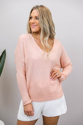 Veronica V Light Knit Jumper - Blush