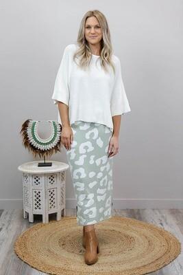 Lola Knit Midi Skirt - Mint/White Leo