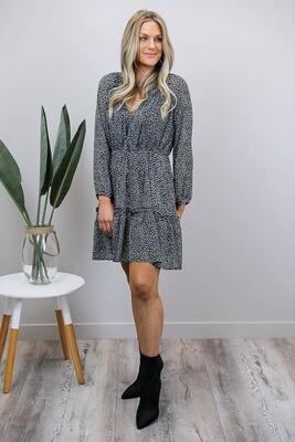Lizzy Frill Miniish Dress - Black/White Leo
