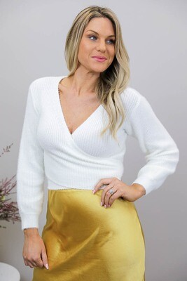 Soft As Crop Wrap Jumper/Top - Ivory