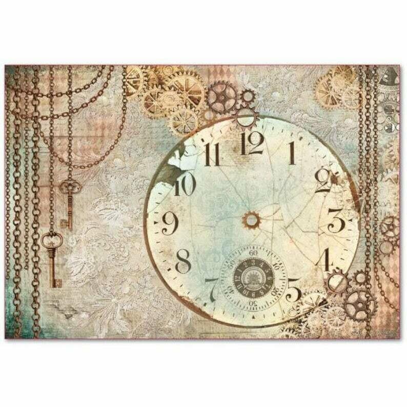 Clockwise Clock -XL Stamperia Rice Paper