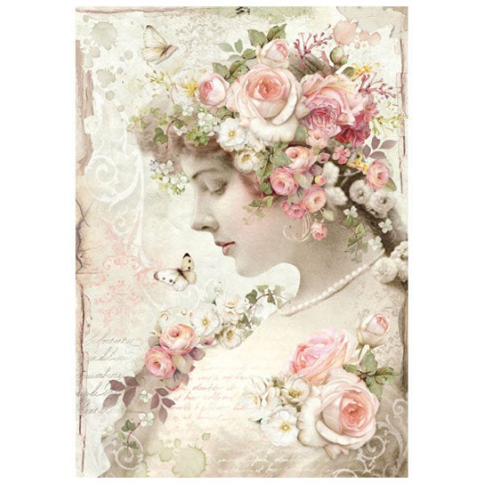 Floreal Profile Roses - A4 -Stamperia Rice Paper
