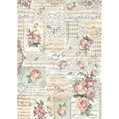 Roses and Manuscripts - A3 -Stamperia Rice Paper