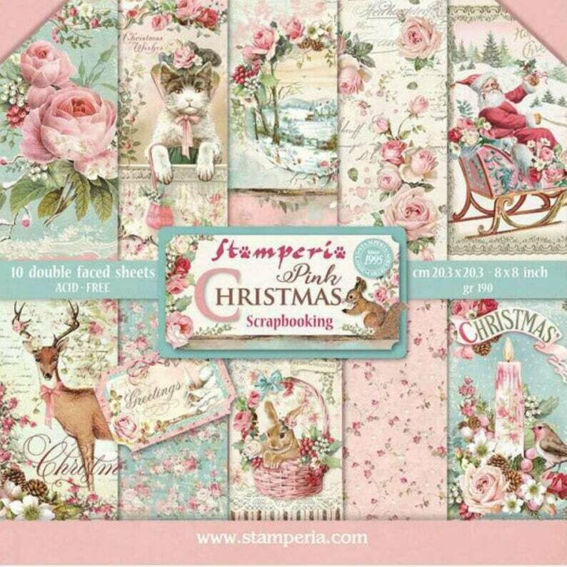 Stamperia Pink Christmas - 8 x 8 Paper Pad