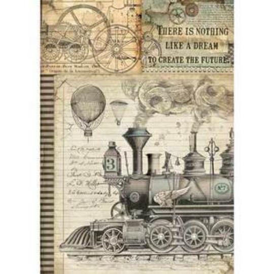 Voyages Fantastiques Train - A4 -Stamperia Rice Paper