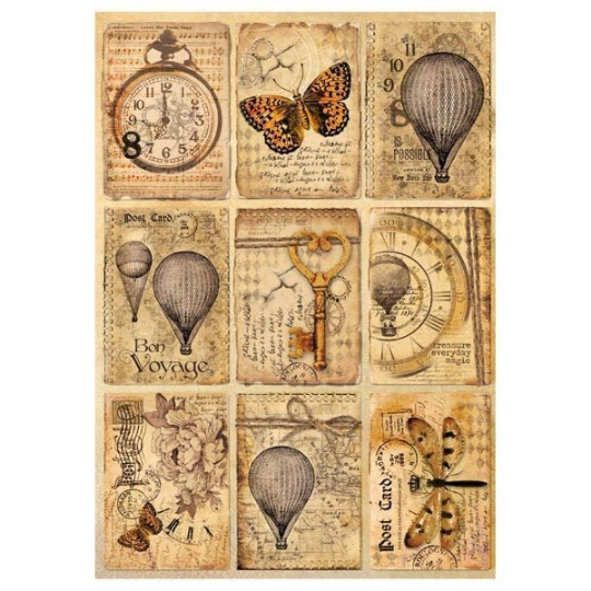 Mixed Media Postcards - A4 -Stamperia Rice Paper
