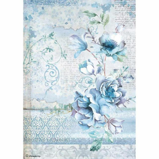 Blue Land Flower - A4 -Stamperia Rice Paper