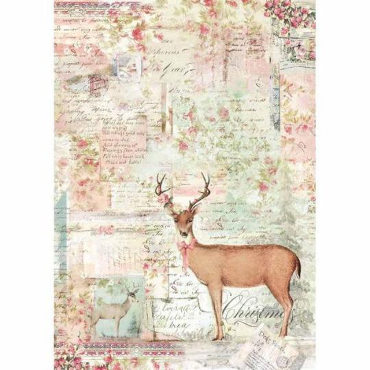 Pink Christmas Reindeer - A4 -Stamperia Rice Paper