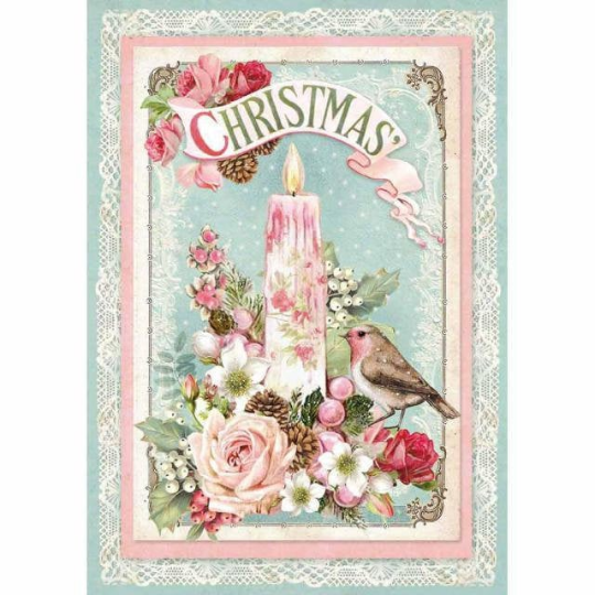 Pink Christmas Candle - A4 -Stamperia Rice Paper