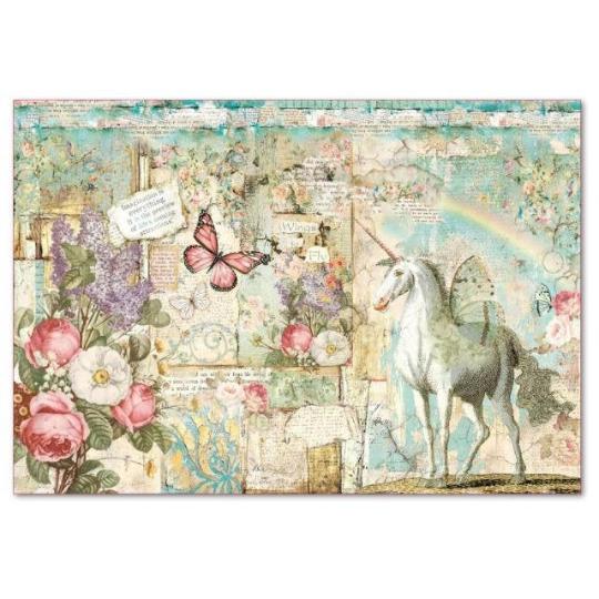 Wonderland Unicorn - XL Stamperia Rice Paper