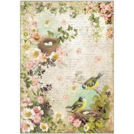 Peach Flowers and Nest - A4 -Stamperia Rice Paper