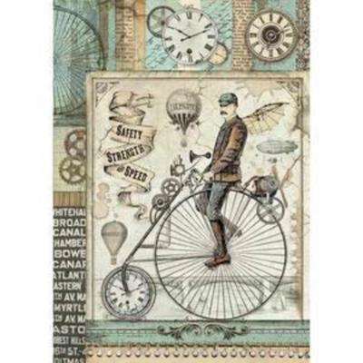 Voyages Fantastiques Bicycle - A4 -Stamperia Rice Paper