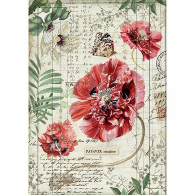 Poppies - A4 -Stamperia Rice Paper