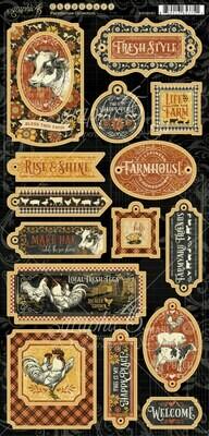 Farmhouse Decorative Chipboard - Farmhouse Collection - Graphic 45